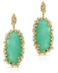 Anne Sisteron - 18kt Yellow Gold Chrysoprase Diamond Luxe Earrings - Lyst
