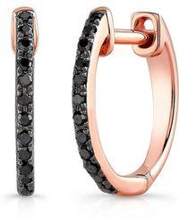 Anne Sisteron - 14kt Oxidized White Gold Black Diamond Zoe Huggie Earrings - Lyst