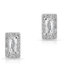 Anne Sisteron - 14kt White Gold White Topaz Diamond Mini Rectangle Stud Earrings - Lyst