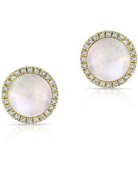 Anne Sisteron - 14kt Yellow Gold Diamond Mother Of Pearl Disc Stud Earrings - Lyst