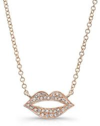 Anne Sisteron - 14kt Rose Gold Diamond Lips Necklace - Lyst