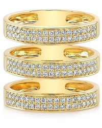 Anne Sisteron - 14kt Yellow Gold Diamond Large Triple Bar Ring - Lyst