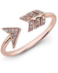 Anne Sisteron - 14kt Rose Gold Diamond Arrow Ring - Lyst
