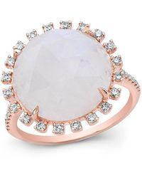 Anne Sisteron - 14kt Rose Gold Moonstone Sunburst Diamond Cocktail Ring - Lyst