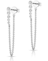 Anne Sisteron - 14kt White Gold Diamond Bezel Bar Chain Stud Earrings - Lyst