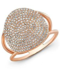 Anne Sisteron - 14kt Rose Gold Diamond Disc Ring - Lyst