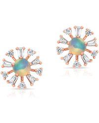 Anne Sisteron - 14kt Rose Gold Opal And Baguette Diamond Havana Earrings - Lyst