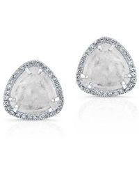 Anne Sisteron - 14kt White Gold Moonstone Diamond Stud Earrings - Lyst