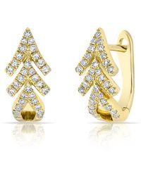 Anne Sisteron - 14kt Yellow Gold Diamond Pine Huggie Earrings - Lyst