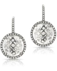 Anne Sisteron - 14kt Oxidized White Gold White Topaz Diamond Round Earrings - Lyst
