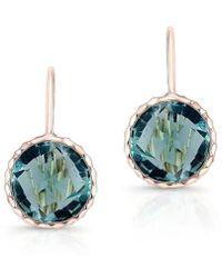 Anne Sisteron - 14kt Rose Gold Blue Topaz Earrings - Lyst