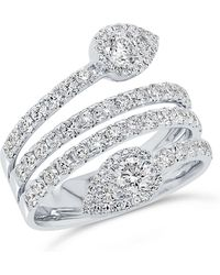 Anne Sisteron - 14kt White Gold Diamond Luxe Viper Ring - Lyst