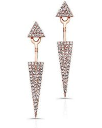 Anne Sisteron | 14kt Rose Gold Diamond Double Triangle Floating Earrings | Lyst