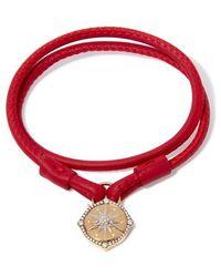 Annoushka Lovelock 18ct Gold 35cms Red Leather Star Charm Bracelet