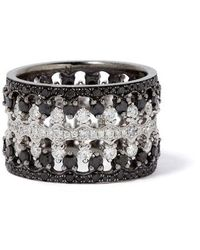 Annoushka Crown Interlaced Black Diamond Ring Stack In 18ct White Gold - Metallic