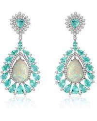 Annoushka Sutra Paraiba Tourmaline & Opal Earrings - Blue
