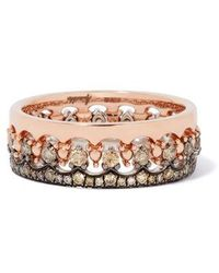 Annoushka Crown Interlaced Diamond Ring Stack In 18ct Mixed Golds - Pink