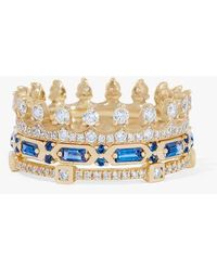 Annoushka 18ct Gold Blue Sapphire Crown Baguette Ring Stack - Metallic