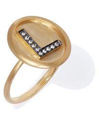 Annoushka 18ct Gold Diamond Initial L Ring - Metallic