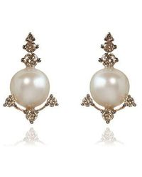Annoushka - Diamonds & Pearls 18ct Rose Gold Studs - Lyst