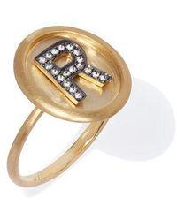 Annoushka 18ct Gold Diamond Initial R Ring - Metallic