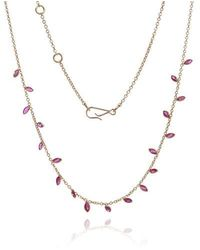 Annoushka 18ct Gold Ruby Vine Leaf Necklace - Metallic