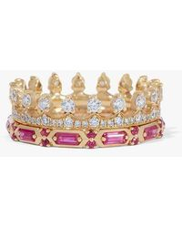 Annoushka 18ct Gold Pink Sapphire Crown Baguette Ring Stack - Metallic