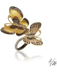Annoushka - Butterflies 18ct Gold Diamond Duet Ring - Lyst