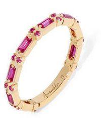 Annoushka 18ct Gold Pink Sapphire Baguette Ring - Metallic