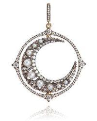 Annoushka Mythology 18ct White Gold Diamond Spinning Moon Pendant - Metallic