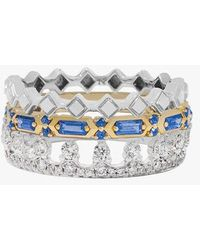 Annoushka 18ct Gold Stepping Stone, Crown And Baguette Ring Stack - Metallic