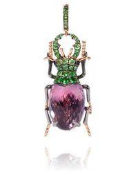 Annoushka Mythology 18ct Rose Gold Amethyst Beetle Charm - Multicolour