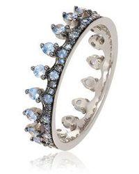 Annoushka Crown 18ct White Gold Blue Sapphire Ring - Metallic