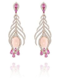 Sutra Annoushka Coral & Sapphire Earrings - Pink