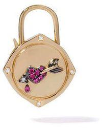 Annoushka Lovelock 18ct Gold Sapphire Diamond Heart & Arrow Charm - Metallic