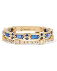 Annoushka 18ct Gold Blue Sapphire Baguette Ring Stack - Metallic