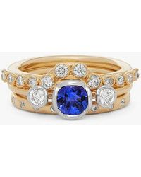 Annoushka 18ct Gold Tanzanite And Diamond Ring Stack - Metallic