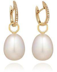 Annoushka 18ct Gold Brown Diamond Baroque Pearl Earrings - Metallic