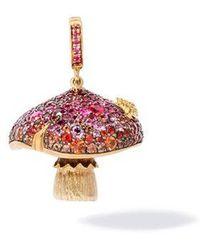 Annoushka 18ct Gold Ruby & Sapphire Diamond Magic Mushroom Charm - Multicolour