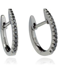 Annoushka - Eclipse 18ct White Gold Black Diamond Fine Hoop Earrings - Lyst
