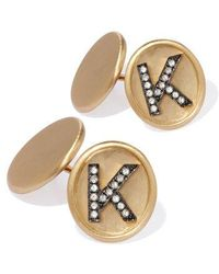 Annoushka 18ct Satin Gold Diamond Initial K Cufflinks - Metallic