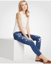 Ann Taylor - Modern Painted Floral All Day Skinny Crop Jeans - Lyst