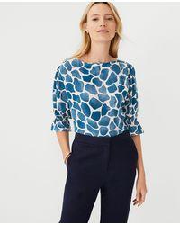 Ann Taylor Petite Giraffe Print Mixed Media Ruffle Cuff Blouse - Blue