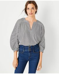 Ann Taylor Ruched 3/4 Sleeve Top - Grey