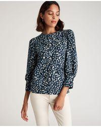 Ann Taylor Petite Spotted Puff Sleeve Sweatshirt - Blue
