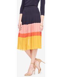 Ann Taylor | Petite Pleated Block Print Skirt | Lyst