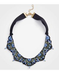 Ann Taylor - Beaded Fabric Necklace - Lyst