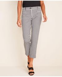 Ann Taylor The Gingham Cotton Crop Pant - Black