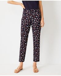 Ann Taylor The Petite Animal Print Cotton Crop Pant - Curvy Fit - Blue