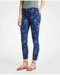 Ann Taylor Petite Modern Island Floral Skinny Crop Jeans - White